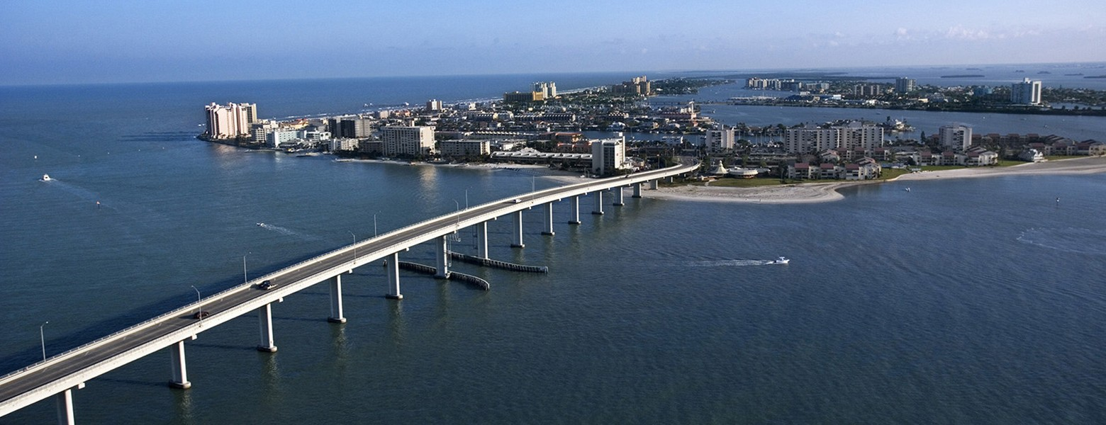 aerial of bridge to clearwater florida