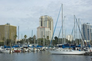 Sailboats in the St. Petersburg Muncipal Marina in Florida.